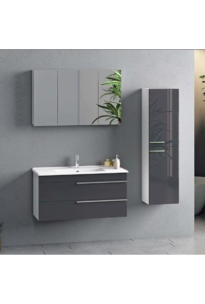 Nplus Dokker 100 cm Banyo Dolabı Metalik Antrasit (Alt Modül + Üst Modül + Lavabo)