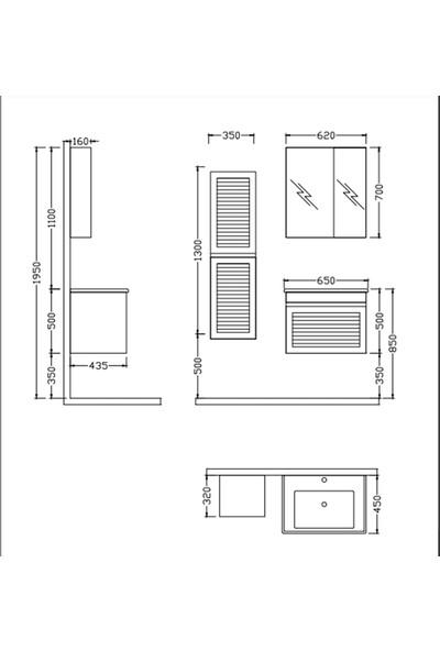 Nplus Megane 65 cm Banyo Dolabı Beyaz Alt Modül + Üst Modül + Lavabo