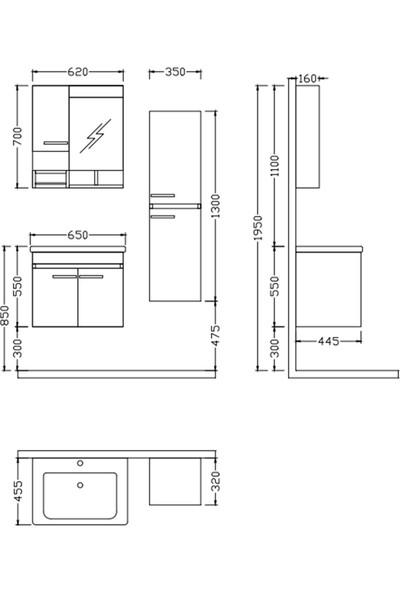 Nplus Storm 65 cm Banyo Dolabı Beyaz (Alt Modül + Üst Modül + Lavabo)