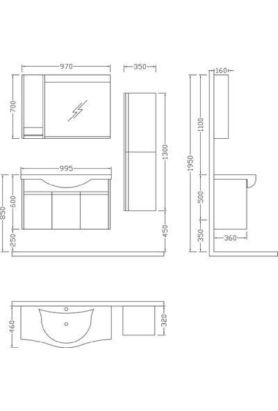 Nplus Logan 100 cm Banyo Dolabı Beyaz - M. Teak (Alt Modül + Üst Modül + Lavabo)