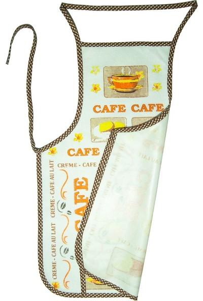 Silver Needle Cafe Baskılı Su Geçirmez Mutfak Önlüğü