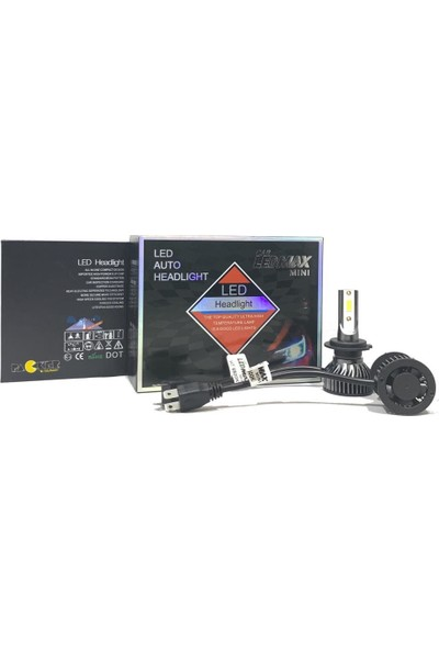 Ledmax H7 Mini/slim Şimşek LED Xenon Far Ampul 8000LM 6500K Beyaz Renk, Fan Soğutuculu