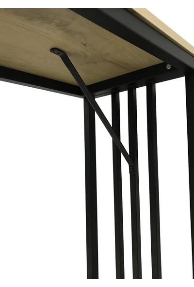 İrem Bar Tipi Masa Bar Masası Metal Ayaklı Masa-Meşe