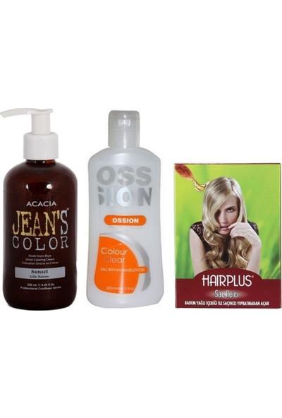Acacia Jeans Color Saç Boyası Gün Batımı 250ml ve Boya Temizleyici ve Hairplus Saç Açıcı