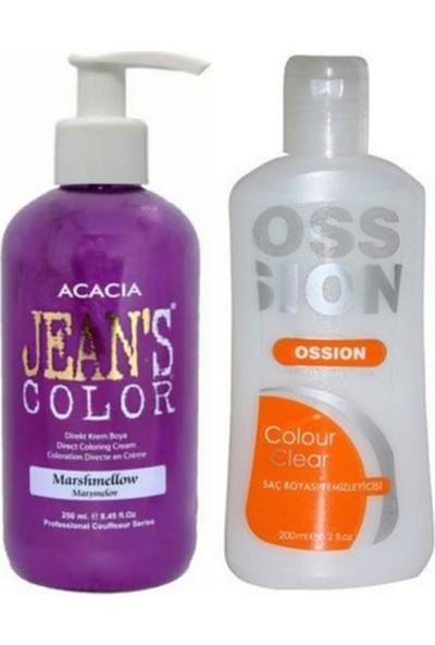 Acacia Jeans Color Saç Boyası Marşmelov 250ml ve Ossion Saç Boya Temizleyicisi 200ml