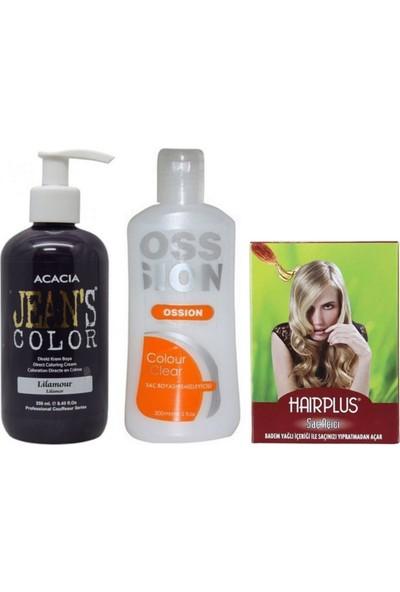Acacia Jeans Color Saç Boyası Lilamor 250ml ve Boya Temizleyici ve Saç Açıcı
