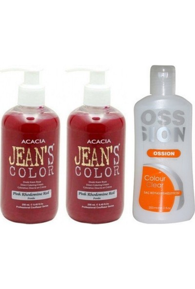 Acacia Jeans Color Saç Boyası Pembe 250ml 2adet ve Ossion Boya Temizleyici 200ml