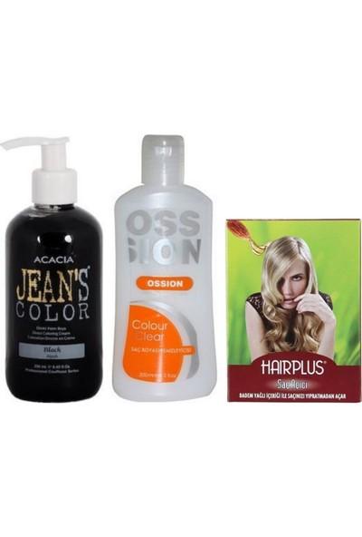 Acacia Jeans Color Saç Boyası Siyah 250ml ve Boya Temizleyici ve Saç Açıcı