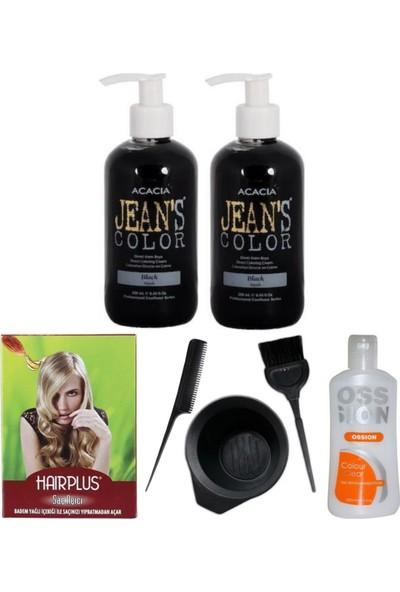 Acacia Jeans Color Saç Boyası Siyah 250ml 2adet, Saç Açıcı, Boya Temizleyici ve Boya Seti