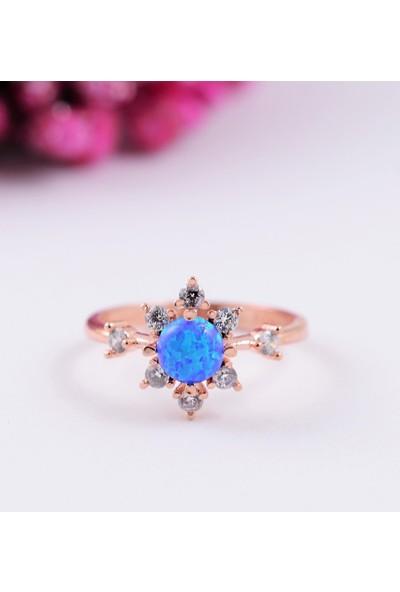 Lotus Gümüş Opal Taşlı Ayarlanabilir 925 Ayar Gümüş Kadın Yüzük