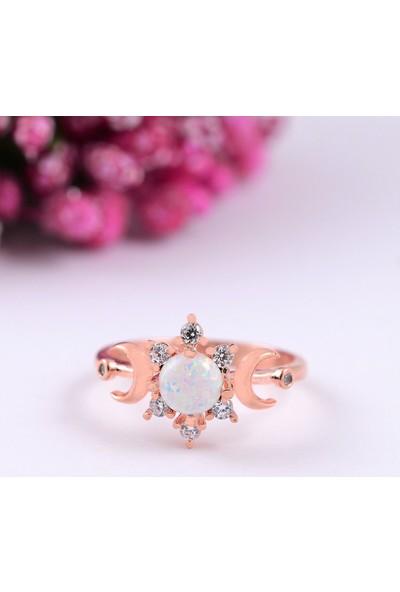 Lotus Gümüş Opal Ay Ayarlanabilir 925 Ayar Gümüş Kadın Yüzük