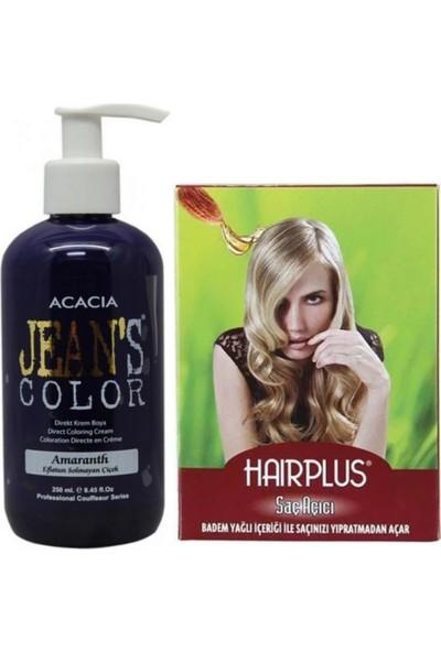 Acacia Jeans Color Saç Boyası Eflatun 250ml ve Hairplus Saç Açıcı