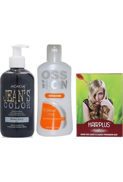 Acacia Jeans Color Saç Boyası Gri 250ml ve Boya Temizleyici ve Saç Açıcı