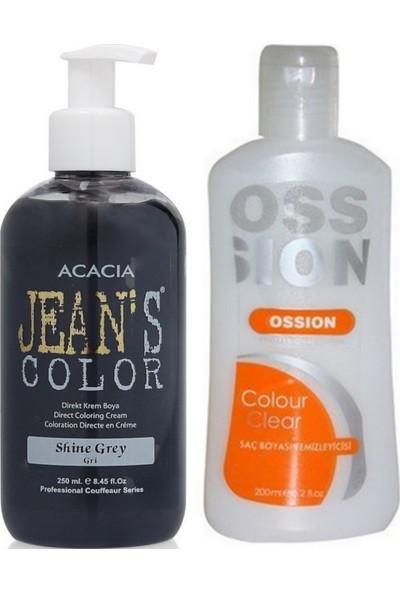 Acacia Jeans Color Saç Boyası Gri 250ml ve Ossion Saç Boya Temizleyicisi 200ml