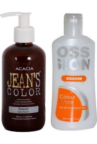 Acacia Jeans Color Saç Boyası Gün Batımı 250ml ve Ossion Saç Boya Temizleyicisi 200ml