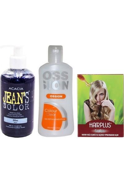 Acacia Jeans Color Saç Boyası Mavi 250ml ve Boya Temizleyici ve Saç Açıcı