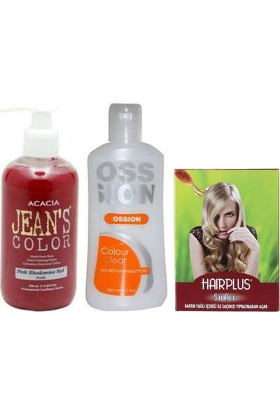 Acacia Jeans Color Saç Boyası Pembe 250ml ve Boya Temizleyici ve Saç Açıcı