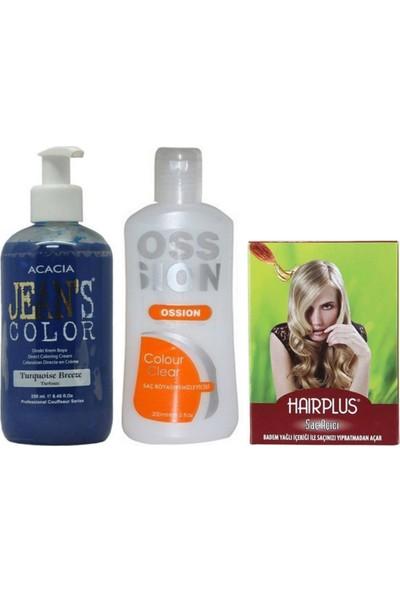 Acacia Jeans Color Saç Boyası Turkuaz 250ml ve Boya Temizleyici ve Saç Açıcı