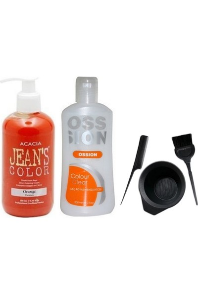 Acacia Jeans Color Saç Boyası Turuncu 250ml ve Boya Temizleyici ve Boya Seti