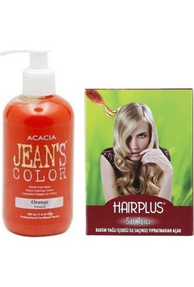 Acacia Jeans Color Saç Boyası Turuncu 250ml ve Hairplus Saç Açıcı
