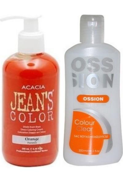 Acacia Jeans Color Saç Boyası Turuncu 250ml ve Ossion Saç Boya Temizleyicisi 200ml