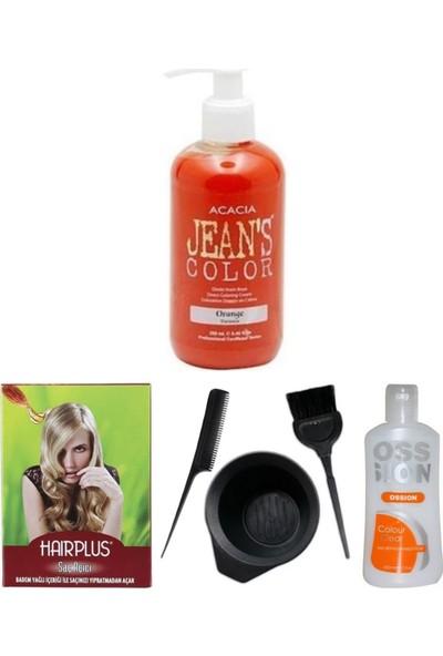 Acacia Jeans Color Saç Boyası Turuncu 250ml, Saç Açıcı, Boya Temizleyici ve Boya Seti