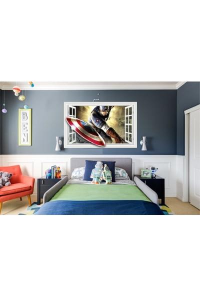 Kt Decoration Captain America Avengers Süper Kahraman Çocuk ve Genç Odası Sticker