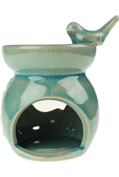 Attach Kuş Tasarımlı Seramik Buhurdanlık Mavi