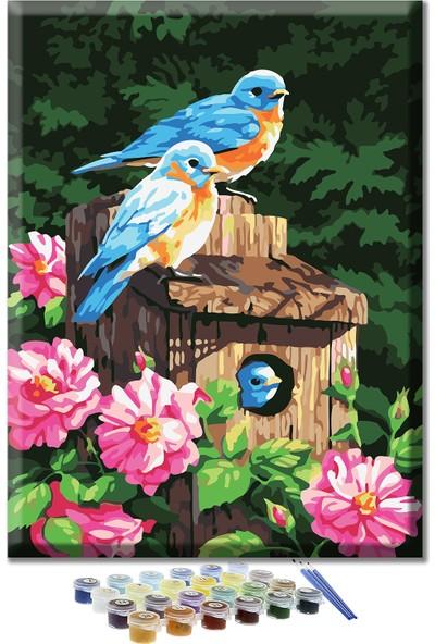 Doruk Baskı Sayılarla Boyama Kiti Mavi Kuşlar 40 x 50 cm