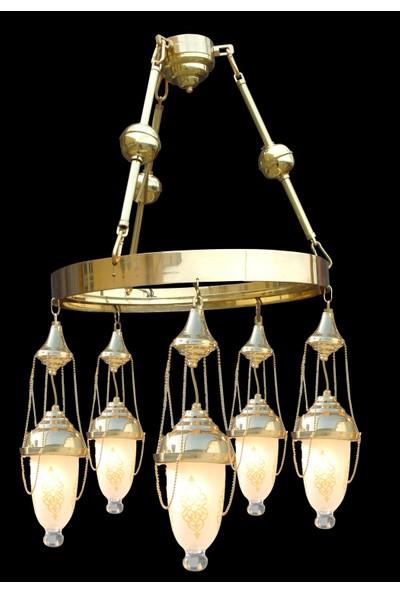 Üstün Avize Selçuklu Model Şık Tasarım Pirinç Avize, 5 Kandil, 50 cm