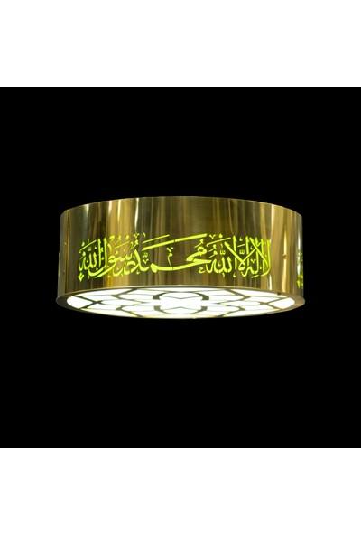 Üstün Avize Kamer Model Işıklı Kelime-I Tevhid Yazılı Lazer Kesim Pirinç Plafonyer AVIZE-30CM