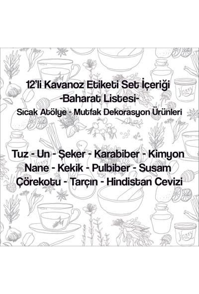 Sıcak Atölye Kavanoz Etiketi 12'li Baharat Seti