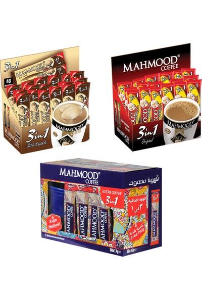 Mahmood Coffee 3'ü 1 arada (48 ) ve 3'ü 1 arada Sütlü Köpüklü (48 ) ve 3'ü 1 Arada Extra Kahve (36 ) x 3