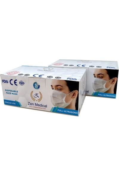 Zen Medikal Cerrahi Maske Meltblown Burun Telli-Full Ultrasonic-Sertifikalı 50 Adet