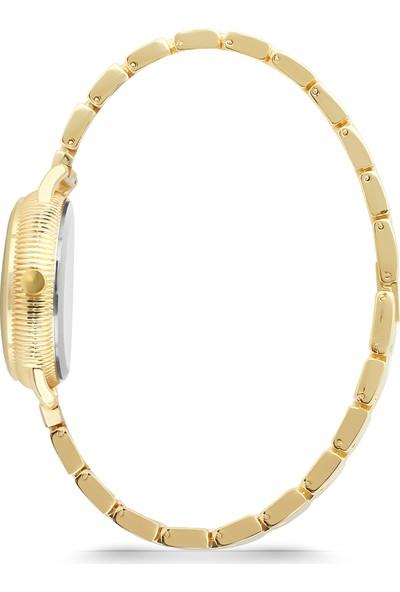 Forentina Altın Kaplama Yuvarlak Kolye Küpe Bileklik Saat Set
