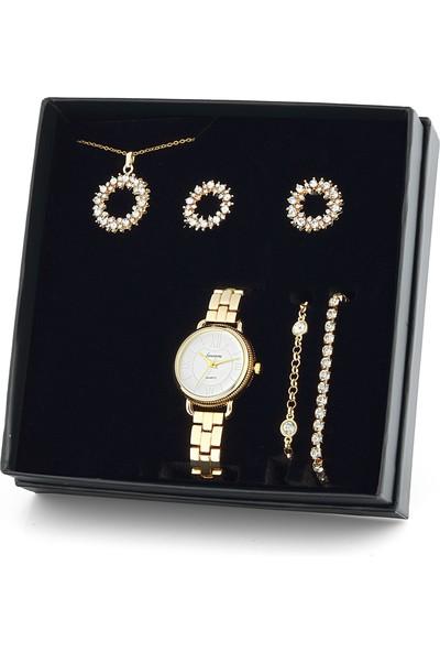Forentina Yuvarlak Tasarım Kolye Küpe Bileklik Saat Set