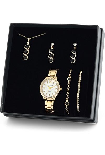 Forentina Altın Kaplama Siyah Taşlı Kolye Küpe Bileklik Saat Set