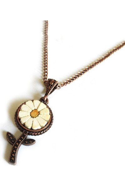 Giftome Papatya Desenli Ayçiçek Doğal El Yapımı Mozaik Taş Kolye