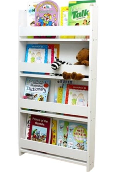 Elisra Montessori Çocuk Odası 4 Raflı Kitaplık Ahşap Duvar Rafı