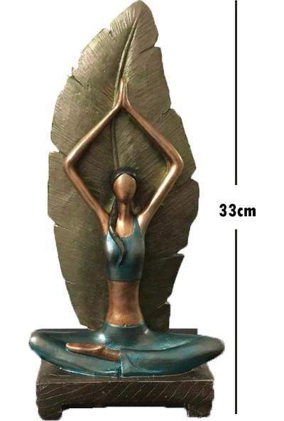 Biblo Sepeti Yoga Yapan Kadın Büyük Boy Yeşil Kahverengi