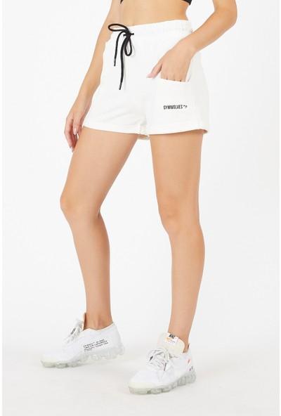 Gymwolves Kadın Spor Şort   Krem   Comfort Serisi   Woman Sports Sorts
