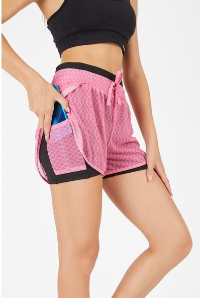 Gymwolves Kadın Spor Şort Iki Konbinasyon Bir Arada Taytlı Spor Şort   Pink   Comfortable Serisi  