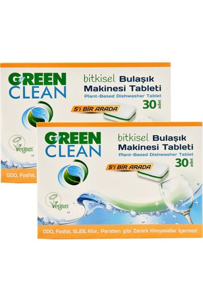 U Green Clean Bitkisel Bulaşık Makinesi Tableti 30'lu x 2
