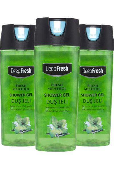 Deep Fresh Pratik Kapaklı Duş Jeli Fresh Mentol 3 x 500 ml