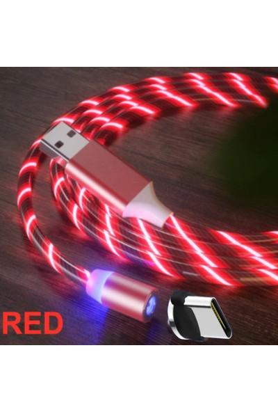 Judas Type C Magnetic Akan Led Işıklı Şarj Kablosu - 2 mt