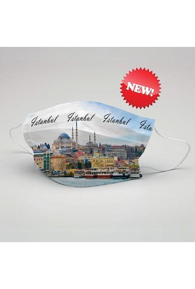 Istanbul Desen Yıkanabilir Maske (5 Adet)