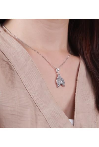 Magnamina Çift Yaprak Model Mardin Hasırı Gümüş Kolye