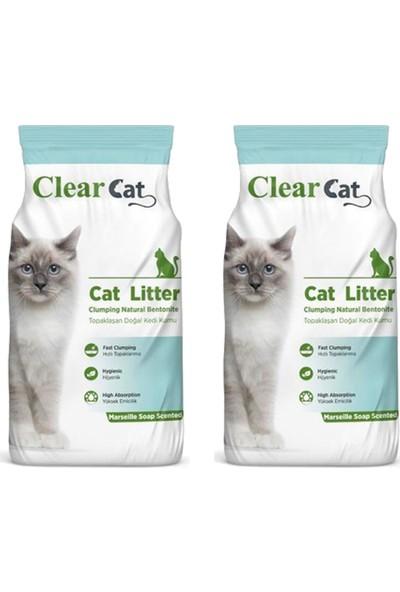 Clear Cat Marsilya Sabunu Kokulu İnce Taneli Kedi Kumu 10 kg x 2 Adet
