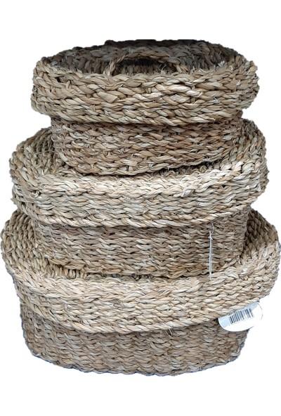 Sever Seagrass Esnek Hasır Örgü Kapaklı 3'lü Sepet Seti