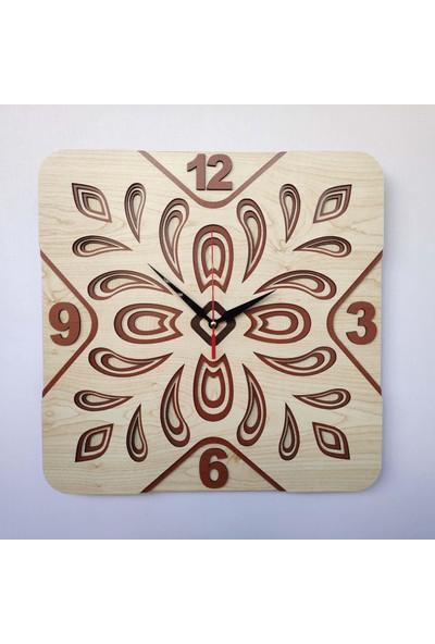Desen Sanat Özel Tasarım Yonca Duvar Saati - Akçaağaç